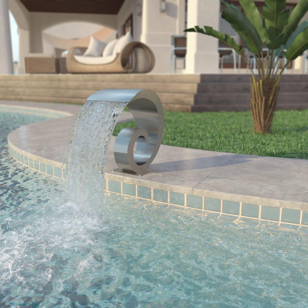 vidaXL Strieborná bazénová fontána, nehrdzavejúca oceľ, 50x30x53cm