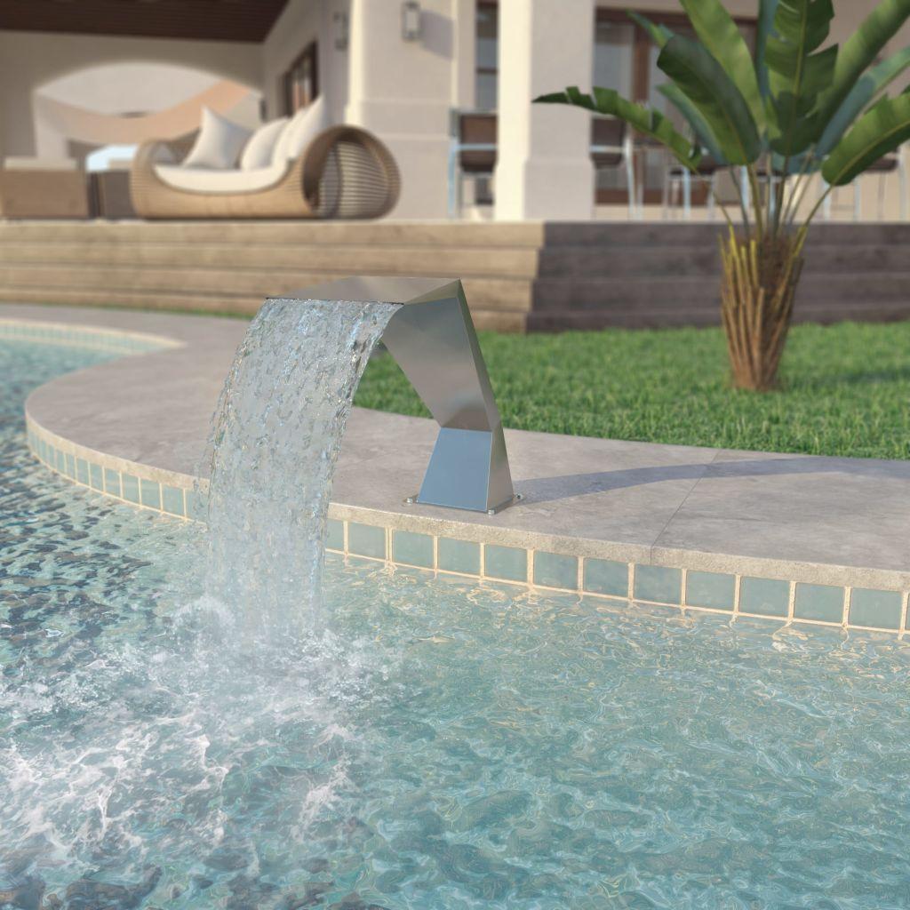 vidaXL Strieborná bazénová fontána, nehrdzavejúca oceľ, 64x30x52 cm