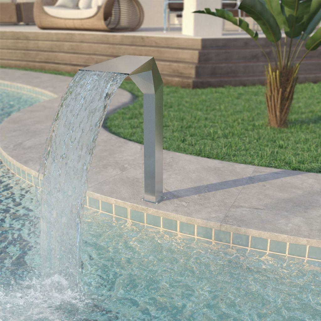 vidaXL Strieborná bazénová fontána, nehrdzavejúca oceľ, 50x30x90cm