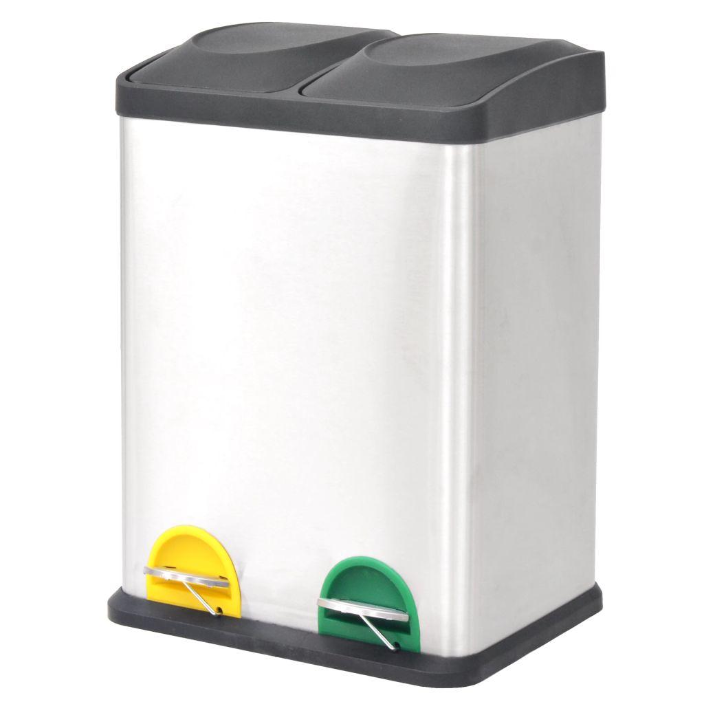 vidaXL Pedálový odpadkový kôš na triedený odpad, nerezová oceľ, 2x18 l