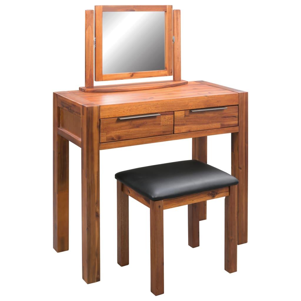 vidaXL Toaletný stolík so stoličkou a zrkadlom, akáciový masív