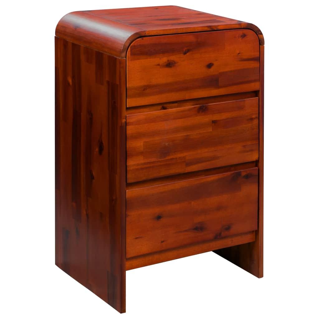 vidaXL Zásuvková skrinka, masívne akáciové drevo, 45x37x75 cm