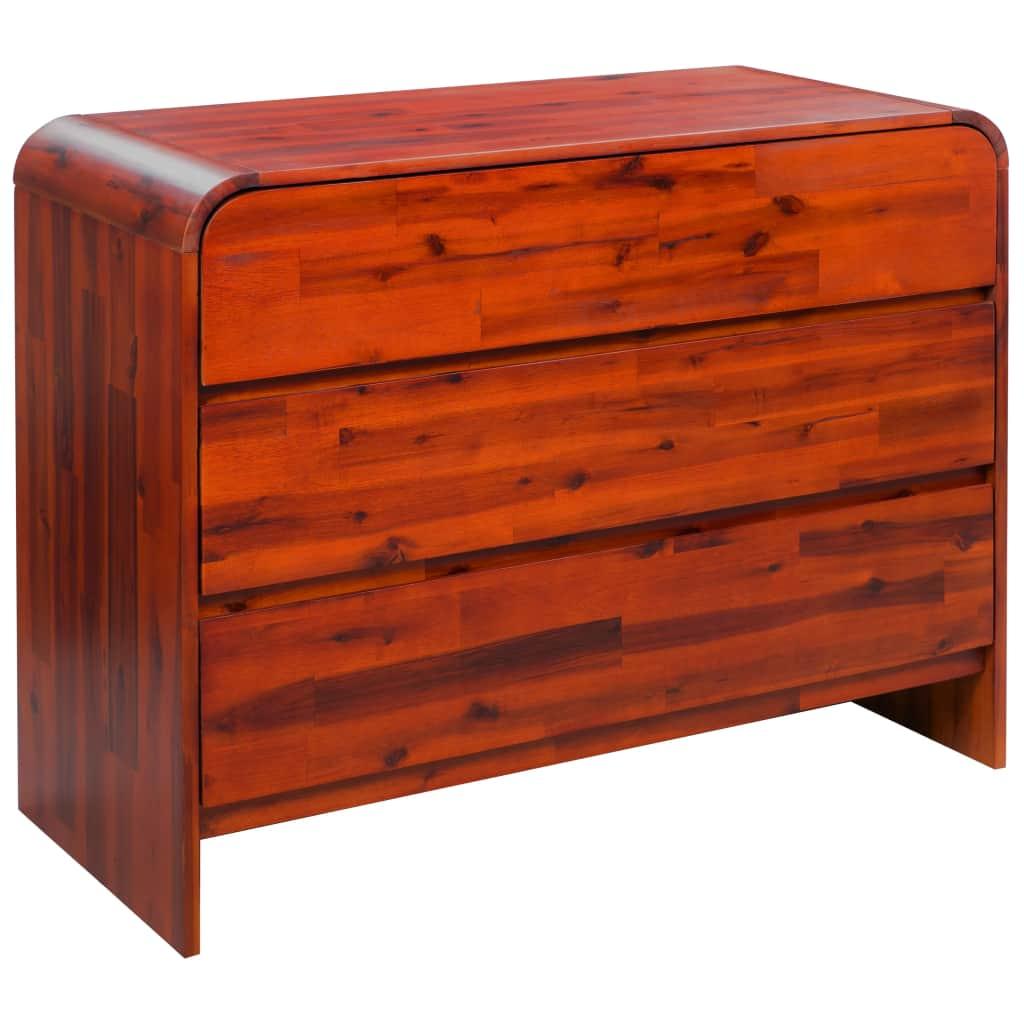 vidaXL Zásuvková skrinka, masívne akáciové drevo, 90x37x75 cm