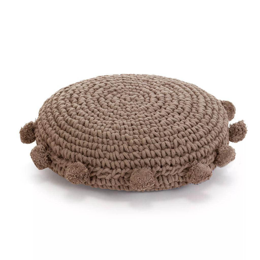 vidaXL Podlahový vankúš, okrúhly, pletená bavlna, 45 cm, hnedý