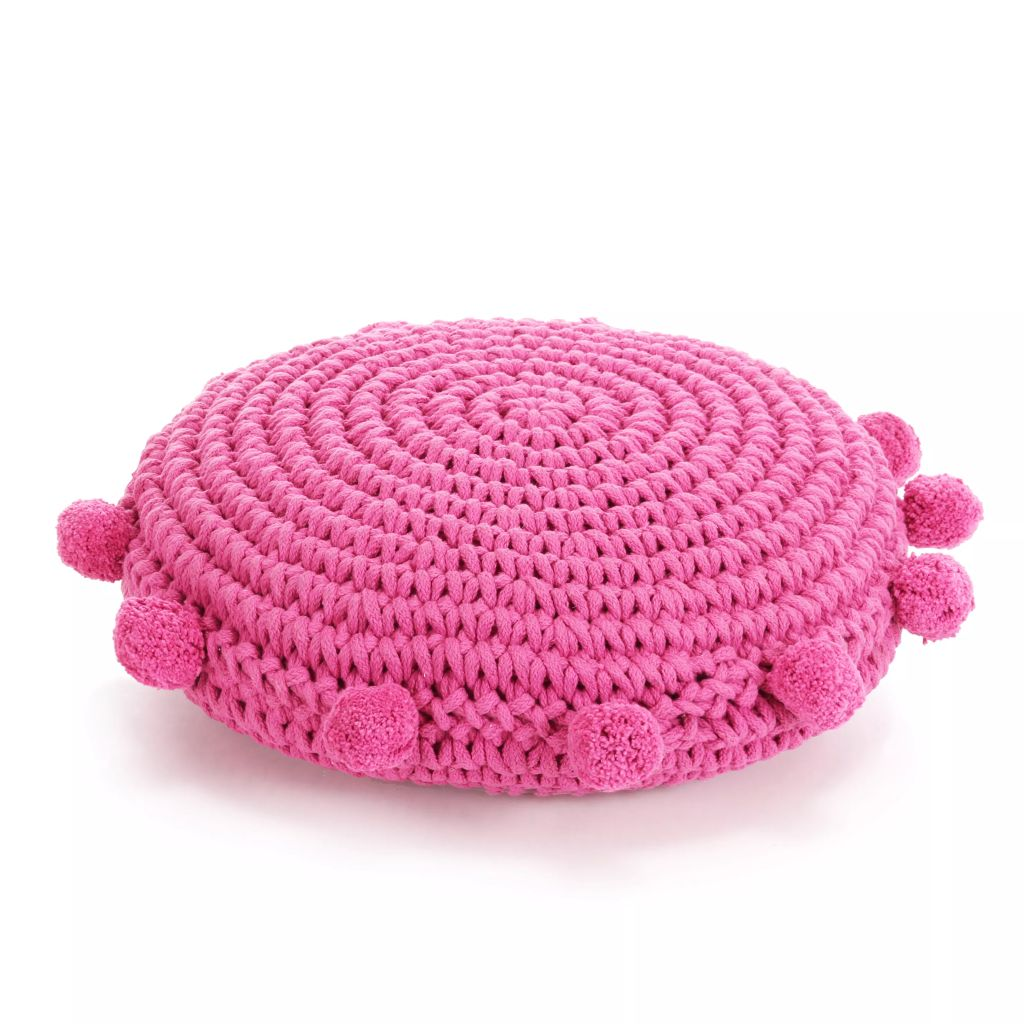 vidaXL Podlahový vankúš, okrúhly, pletená bavlna, 45 cm, ružový