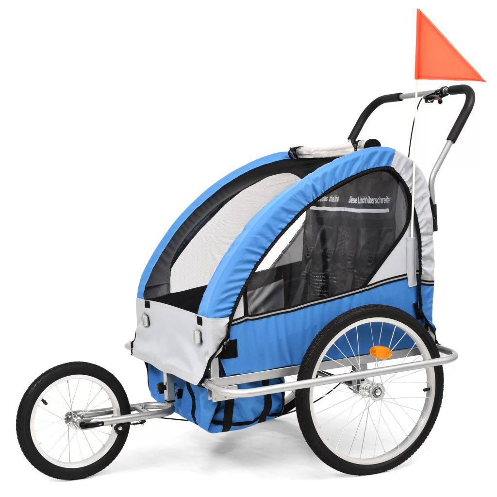 vidaXL Detský cyklovozík a kočík 2-v-1, modro-sivý