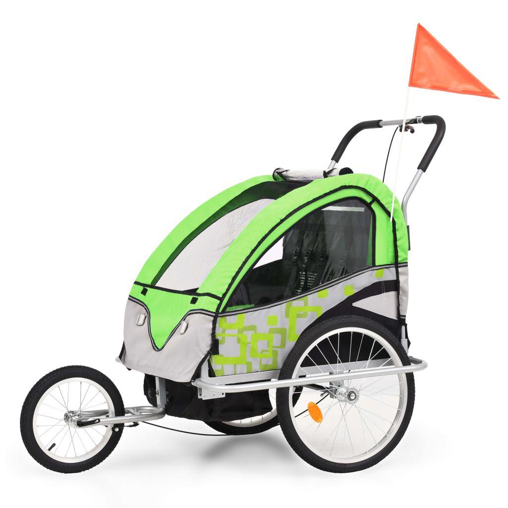 vidaXL Detský cyklovozík a kočík 2-v-1, zeleno-sivý