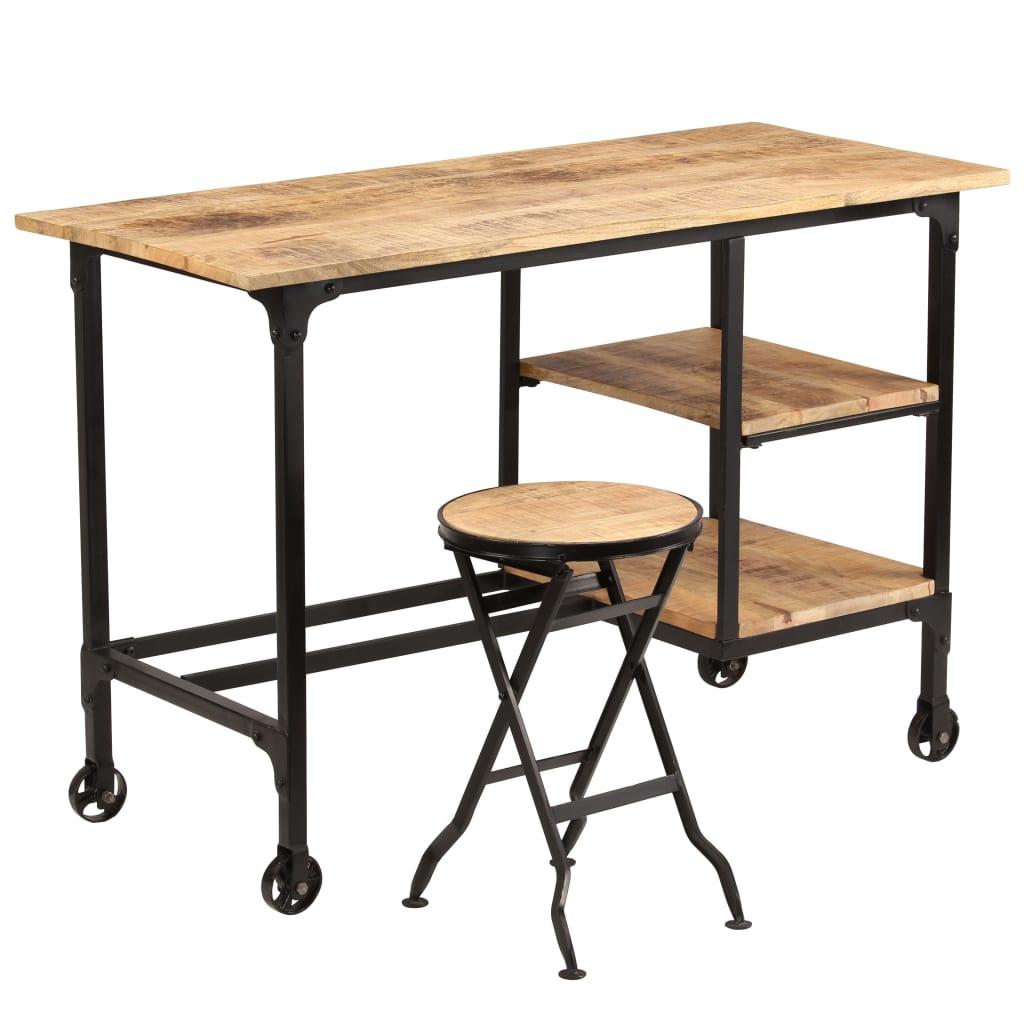 vidaXL Stôl so skladacou stoličkou, masívne mangovníkové drevo 115x50x76 cm