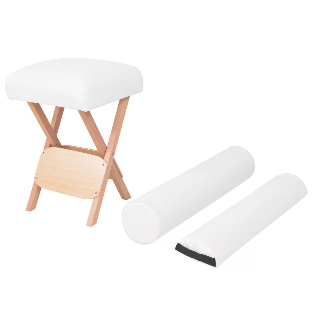 vidaXL Sklápacia masérska stolička s 12 cm hrubým sedadlom a 2 podložkami biela
