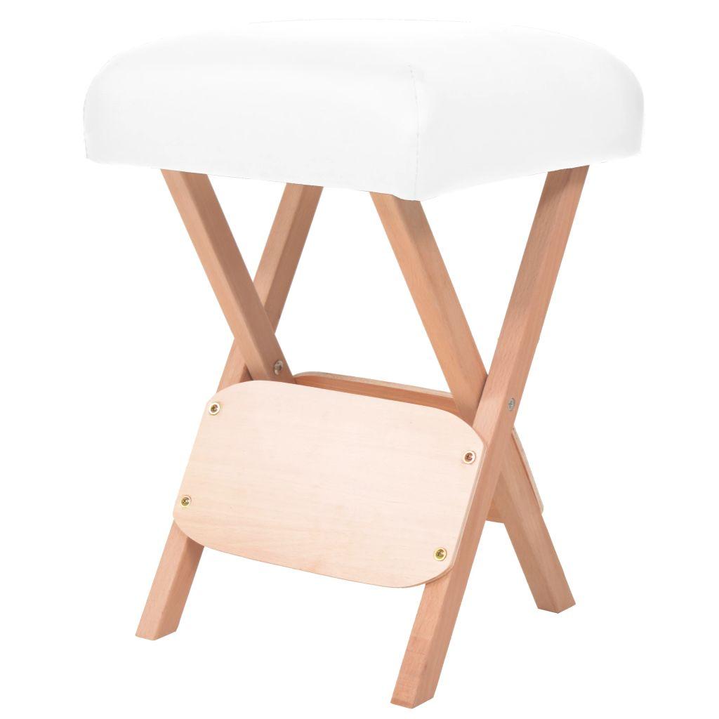 vidaXL Sklápacia masérska stolička s 12 cm hrubým sedadlom biela