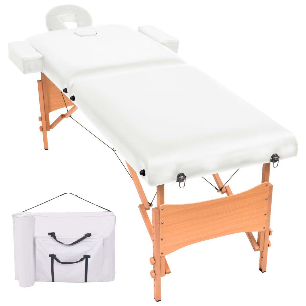 vidaXL 2-dielny sklápací masérsky stôl,10 cm hrubý, biely