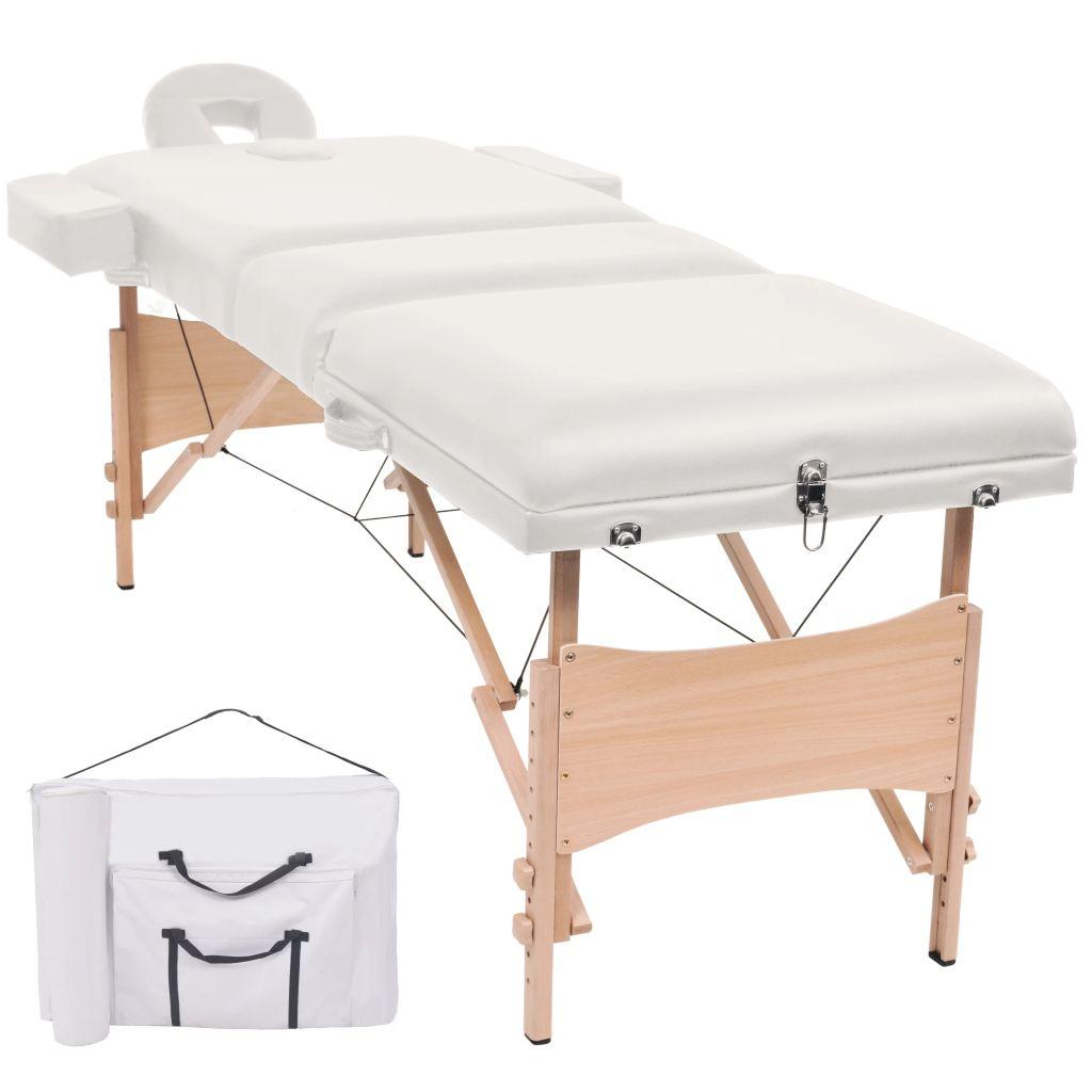 vidaXL Sklápací 3-dielny masérsky stôl,10 cm hrubý, biely