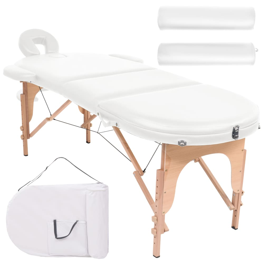 vidaXL Skladací masážny stôl, 10 cm, hrubý s 2 podhlavníkmi, oválny, biely