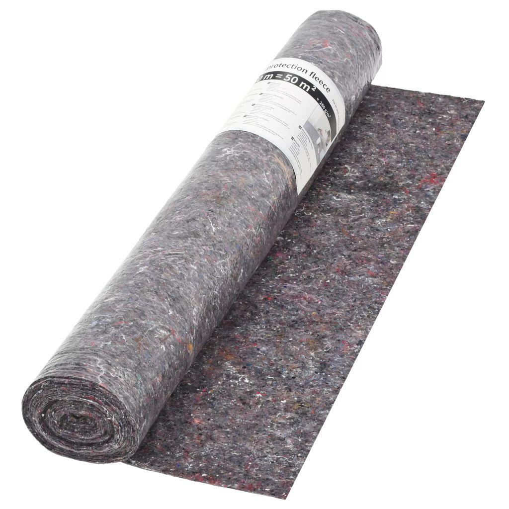 vidaXL Ochranný koberec z flícu, 50 m, 180 g/m², sivý