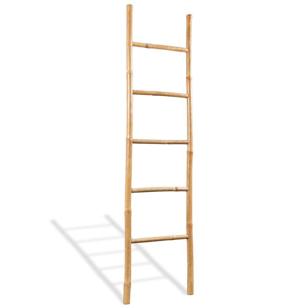 vidaXL Rebrík na uteráky s 5 priečkami, bambus, 150 cm
