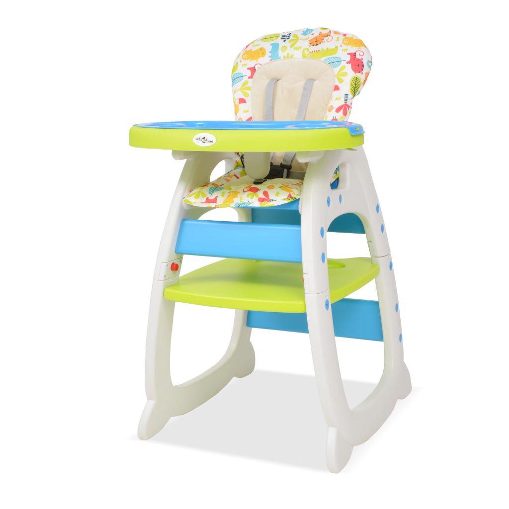 vidaXL Vysoká detská jedálenská stolička s pultíkom 3-v-1, modro-zelená