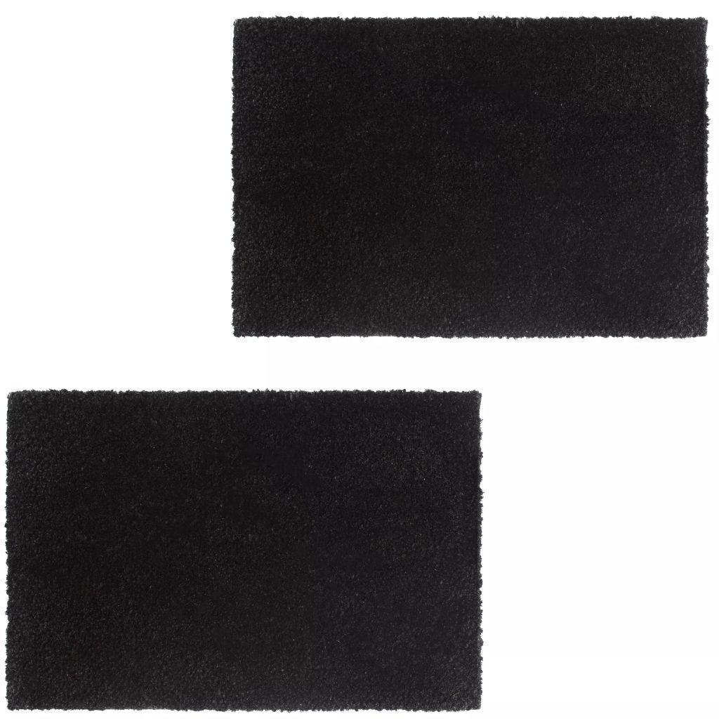 vidaXL Rohožky, 2 ks, kokosové vlákno, 24 mm, 40x60 cm, čierne