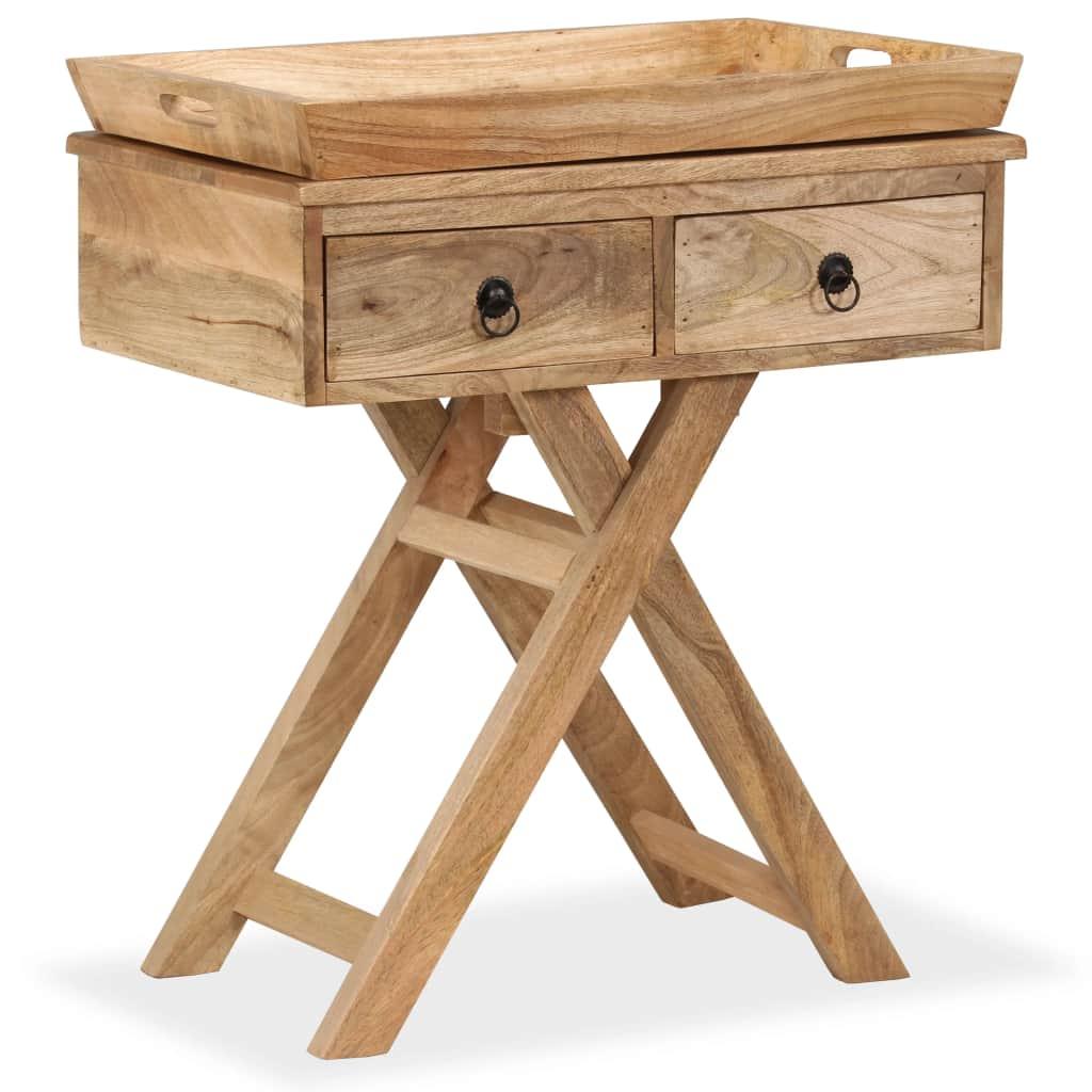 vidaXL Príručný stolík masívne mangovníkové drevo 65x40x76 cm