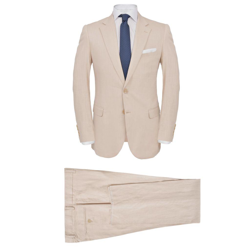 vidaXL Pánsky dvojdielny ľanový oblek, veľkosť 48, béžový