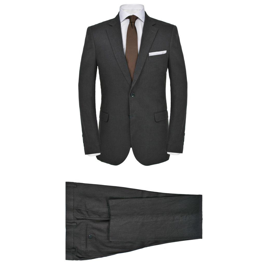 vidaXL Pánsky dvojdielny ľanový oblek, veľkosť 52, tmavosivý