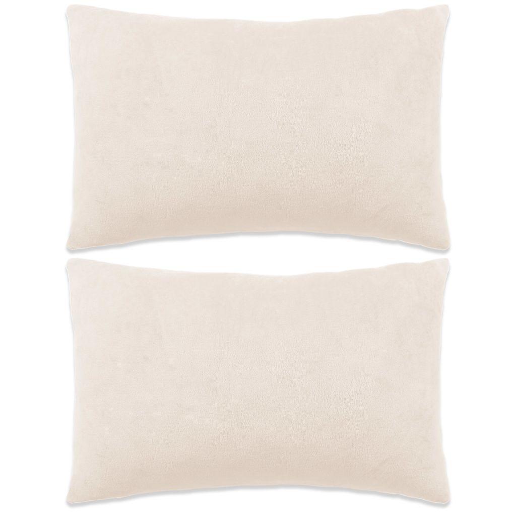 vidaXL Sada zamatových dekoratívnych vankúšov, 2 ks, 40x60cm, biela