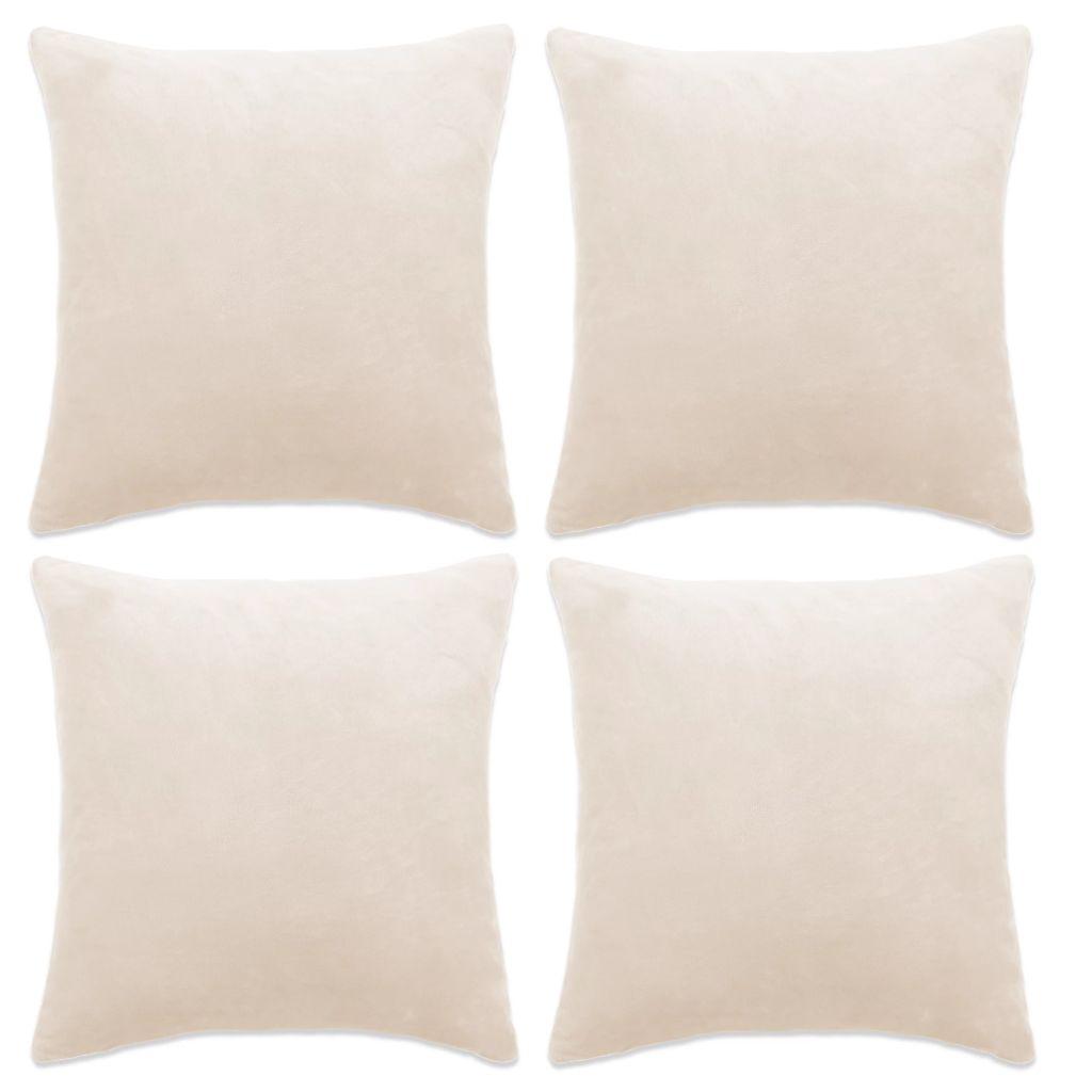vidaXL Návliečky na vankúše, 4 ks, velúr, 50x50 cm, biele