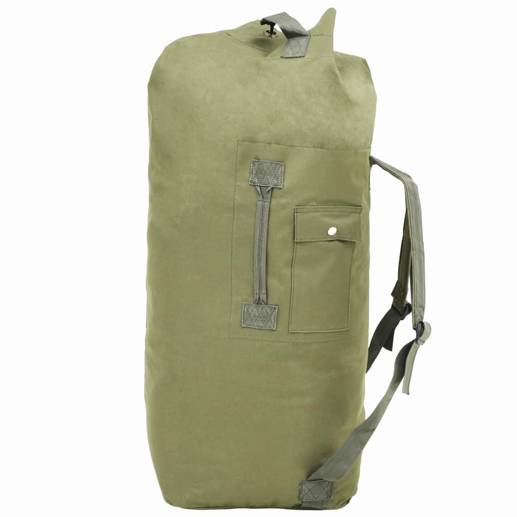 vidaXL Cestovná taška vo vojenskom štýle 85 l olivovo-zelená