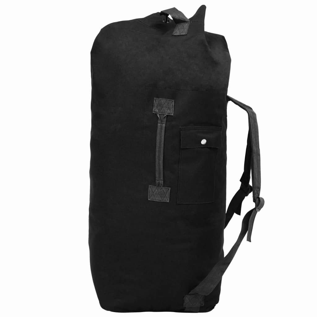 vidaXL Cestovná taška vo vojenskom štýle 85 l čierna