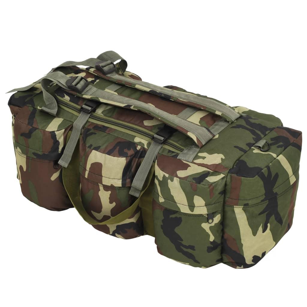vidaXL Športová taška 3 v 1, army štýl 120 l, maskáčová