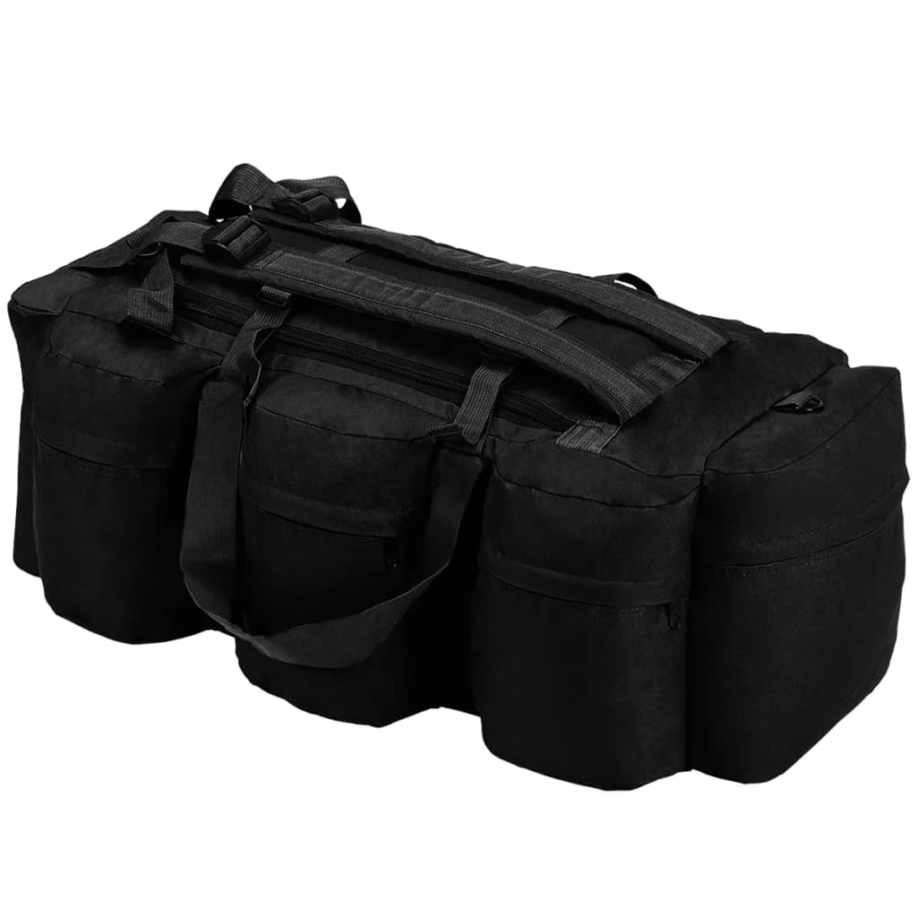 vidaXL Športová taška 3 v 1, army štýl 120 l, čierna