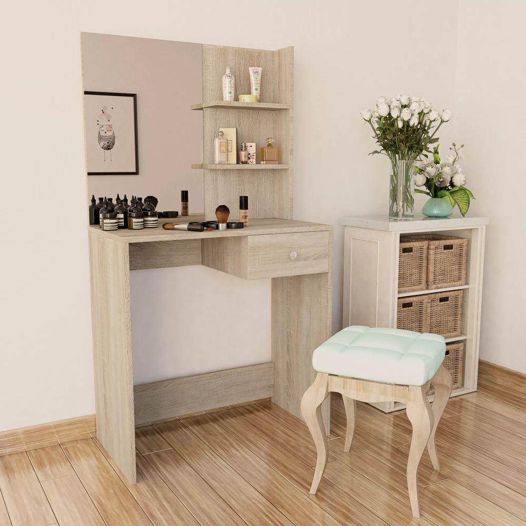 vidaXL Toaletný stolík, drevotrieska, 75x40x141 cm, dubová farba