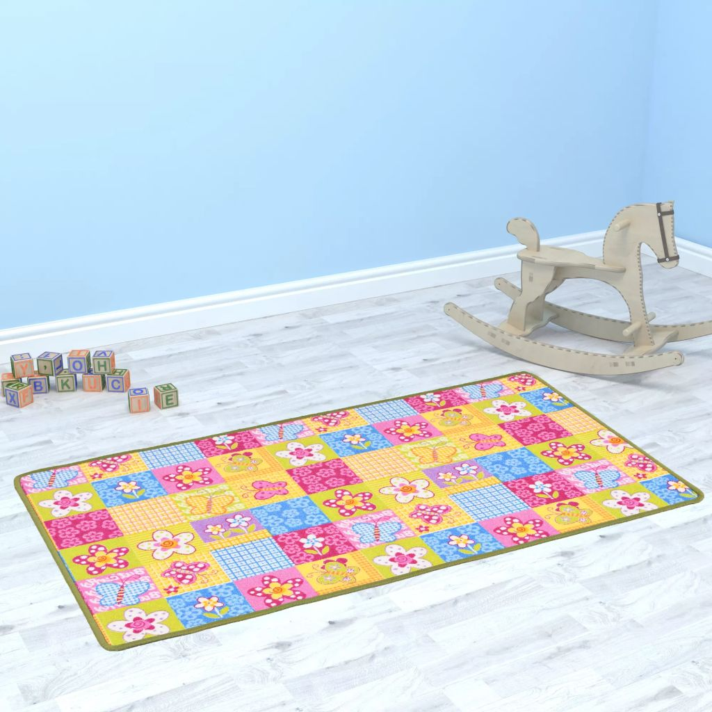 vidaXL Všívaný koberec na hranie 133x180 cm motív motýľov