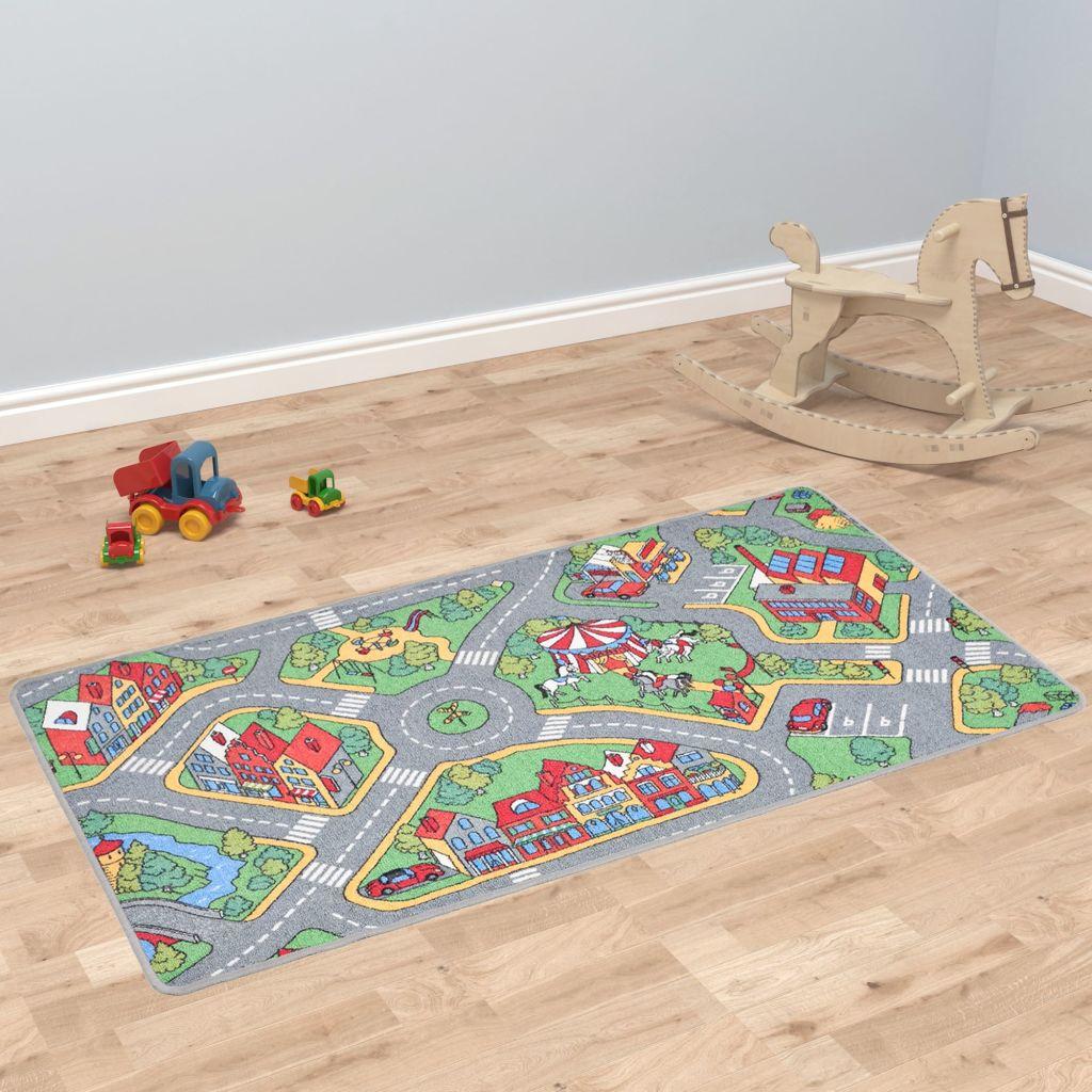 vidaXL Všívaný koberec na hranie 100x165 cm motív mesta a ciest