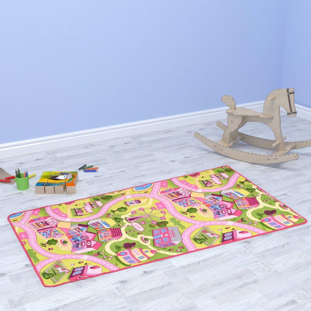 vidaXL Všívaný koberec na hranie 133x190 cm motív mestečka