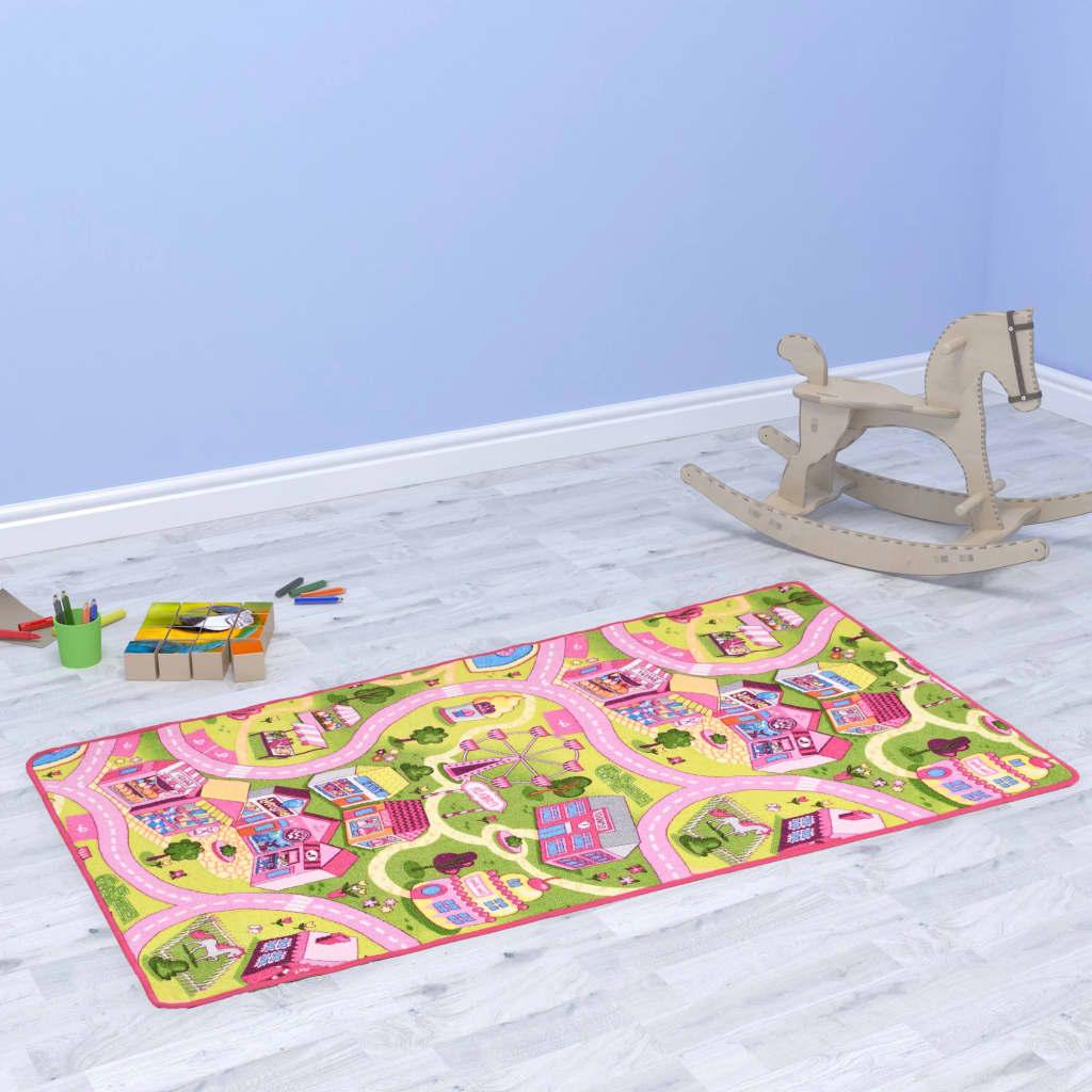 vidaXL Všívaný koberec na hranie 190x290 cm motív mestečka