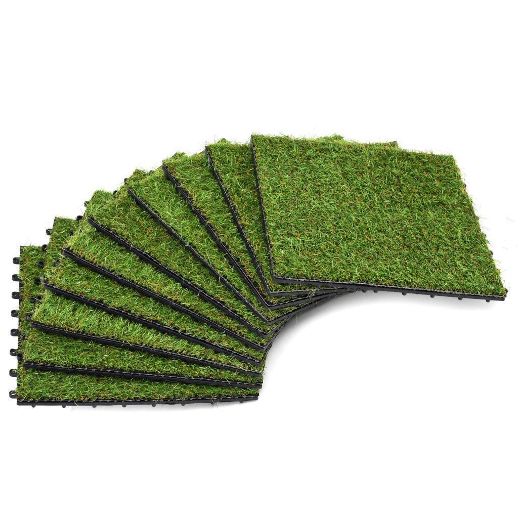 vidaXL Umelý trávnik, 10 ks, 30x30 cm, zelený