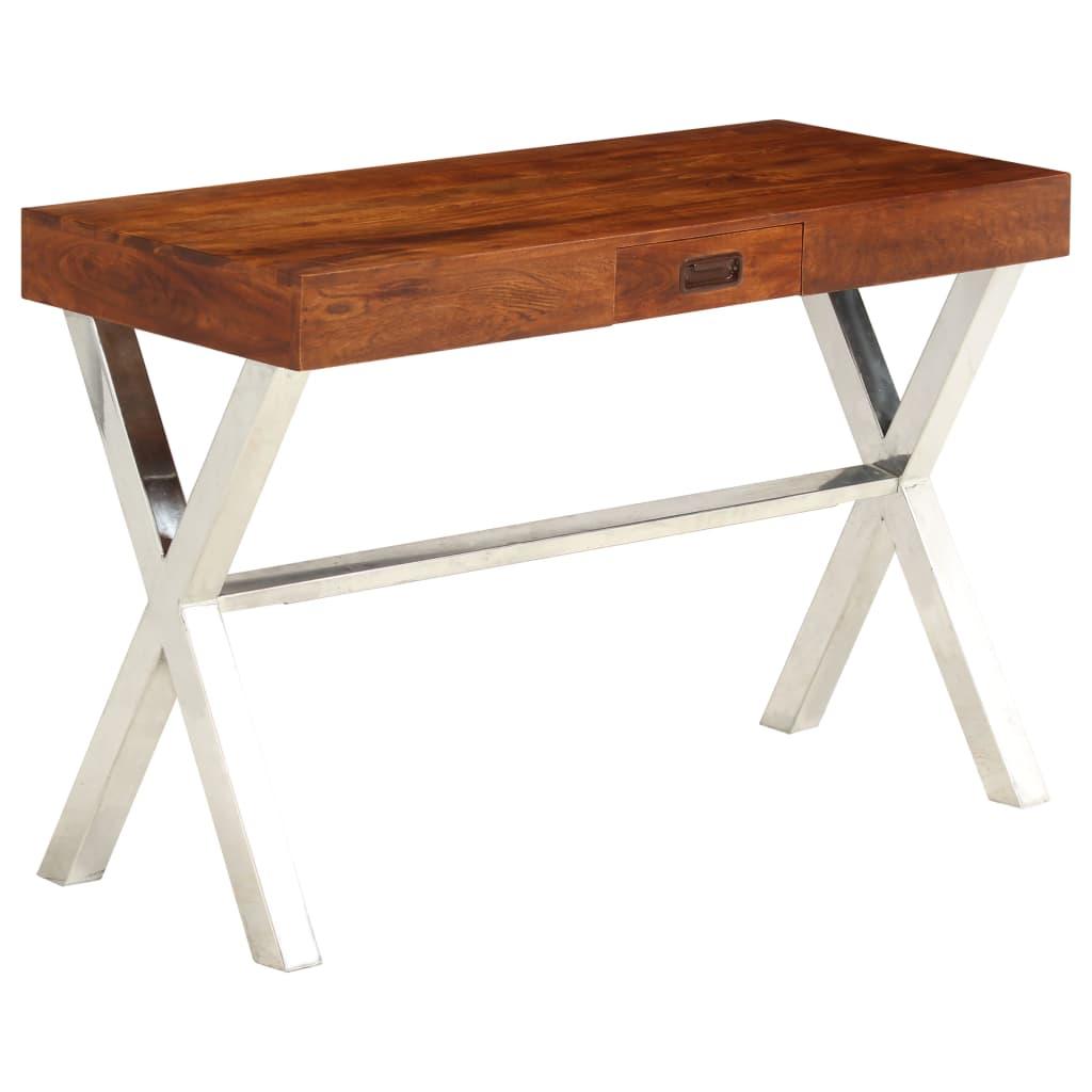 vidaXL Stôl masívne akáciové drevo sheeshamová povrchová úprava 110x50x76 cm