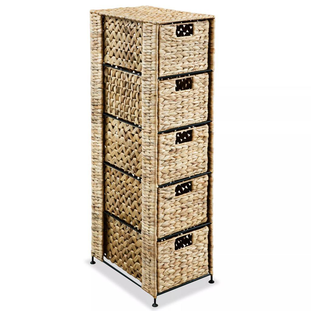 vidaXL Úložná skrinka so 5 košíkmi, 25.5x37x100 cm, vodný hyacint