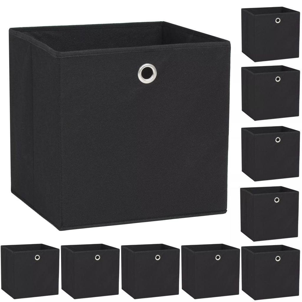 vidaXL Úložné boxy, 10 ks, netkaná textília, 32x32x32 cm, čierne
