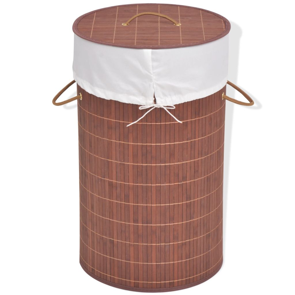 vidaXL Bambusový kôš na bielizeň, okrúhly, hnedý