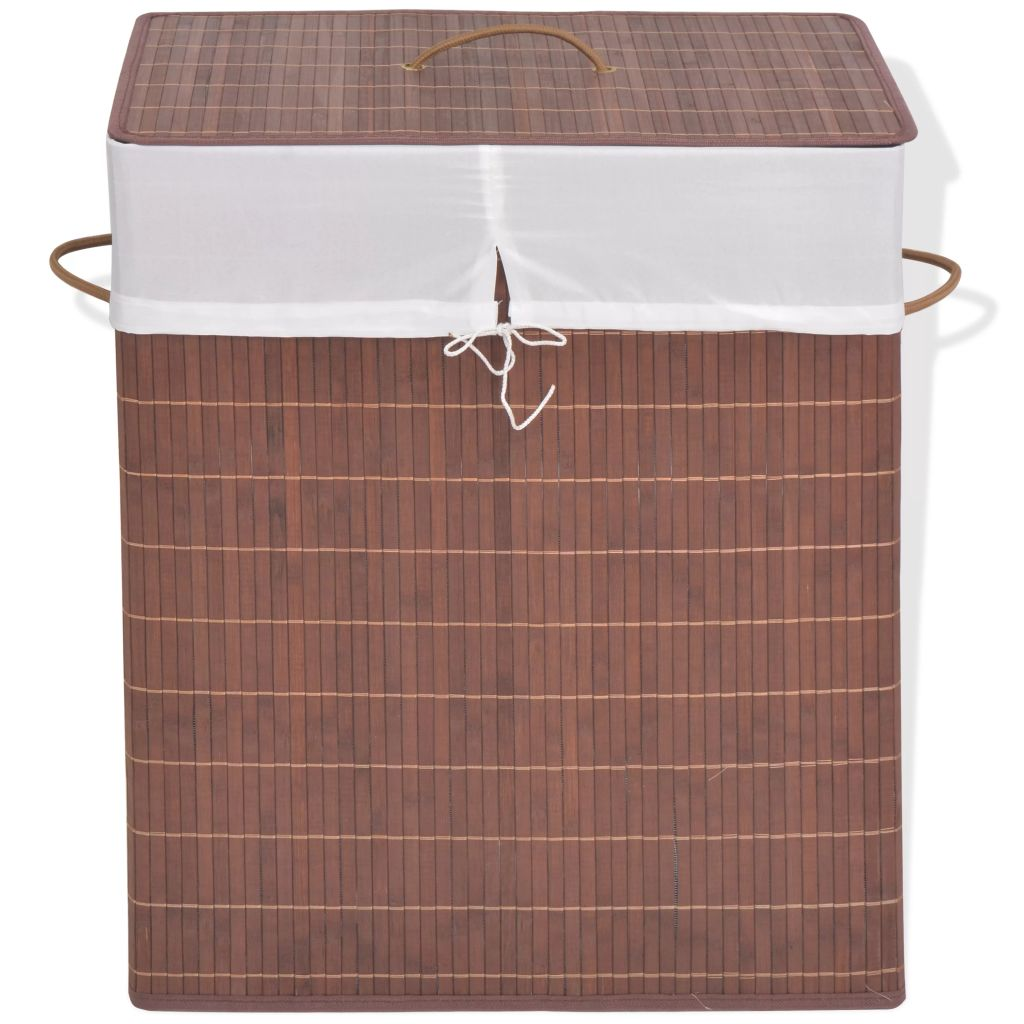 vidaXL Bambusový kôš na bielizeň, obdĺžnikový, hnedý
