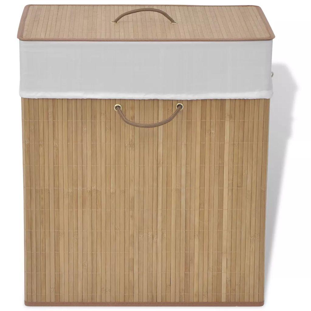 vidaXL Bambusový kôš na prádlo, obdĺžnikový, prírodná farba