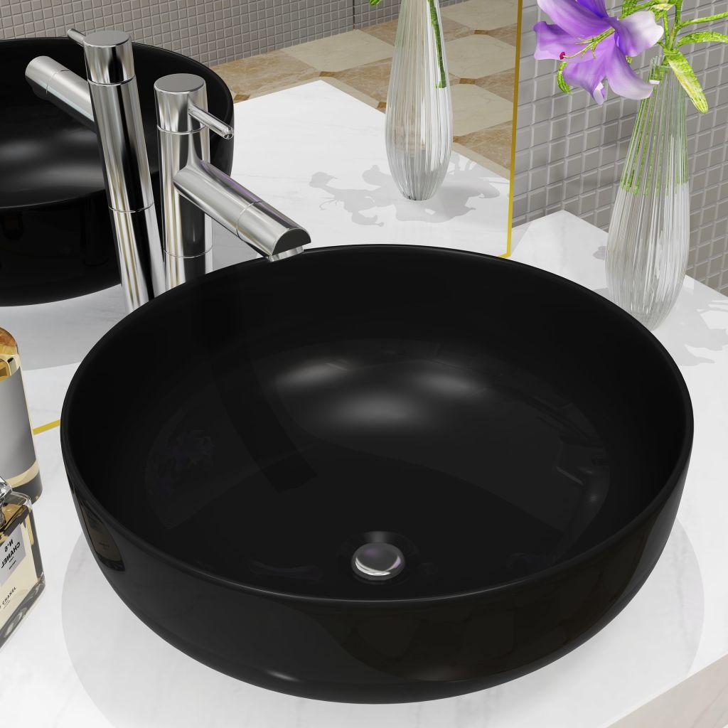 vidaXL Umývadlo keramické okrúhle čierne 41,5x13,5 cm