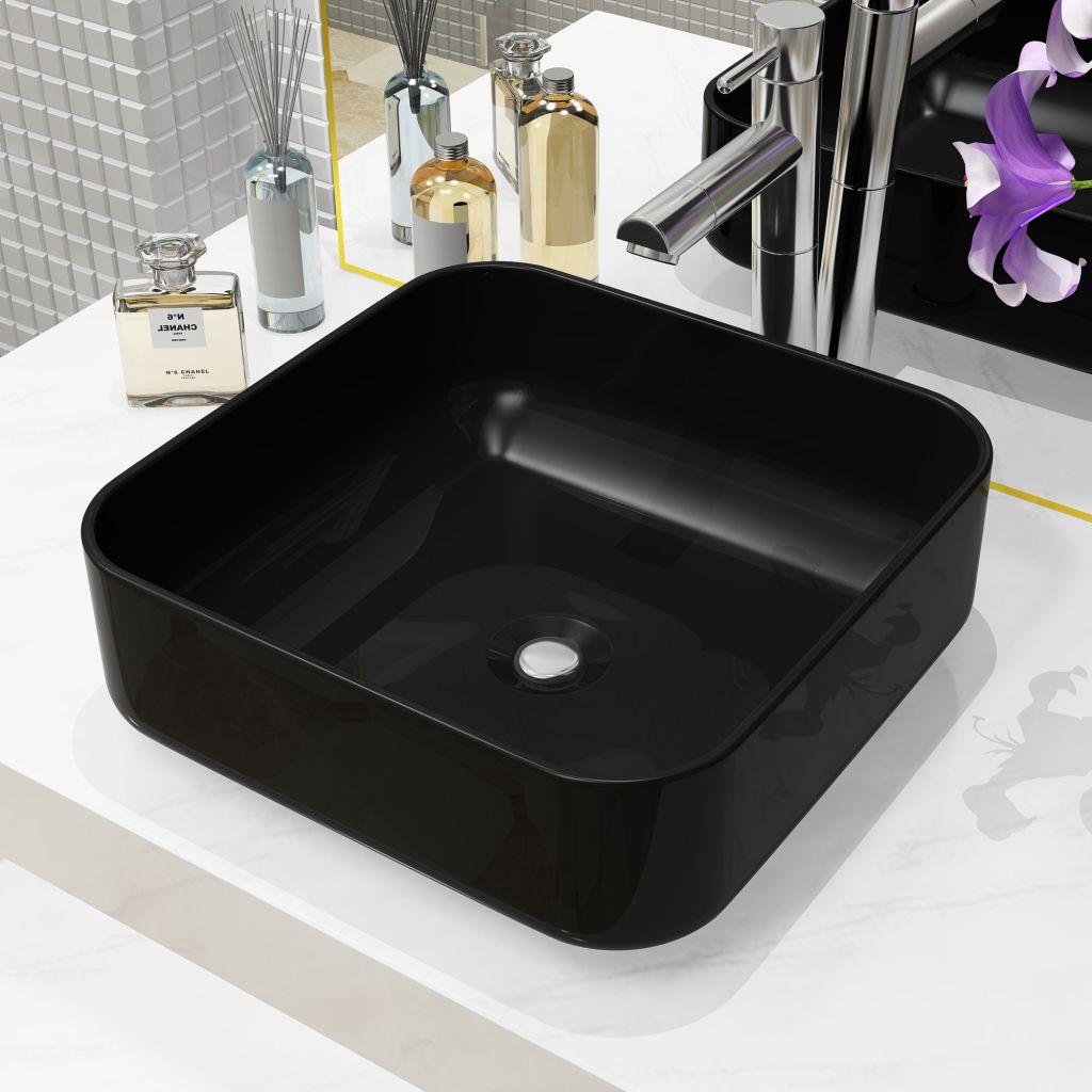 vidaXL Štvorcové keramické umývadlo, čierne, 38x38x13,5 cm