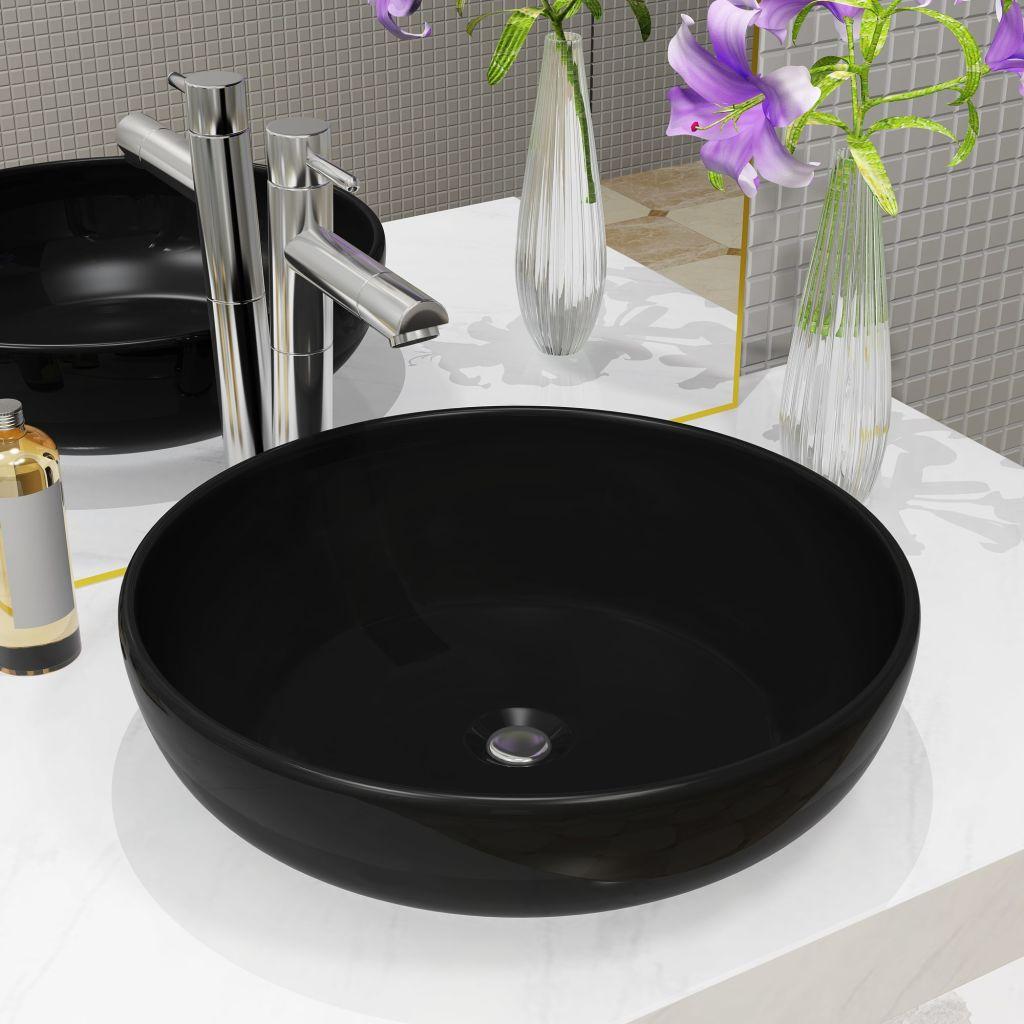 vidaXL Umývadlo čierne 42x12 cm keramické okrúhle