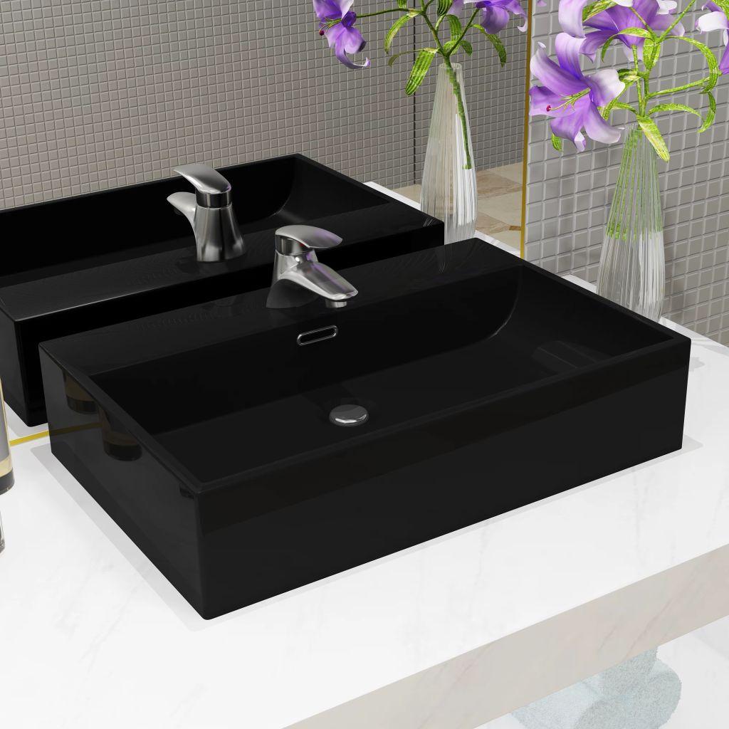 vidaXL Umývadlo s otvorom na batériu keramické čierne 76x42,5x14,5 cm
