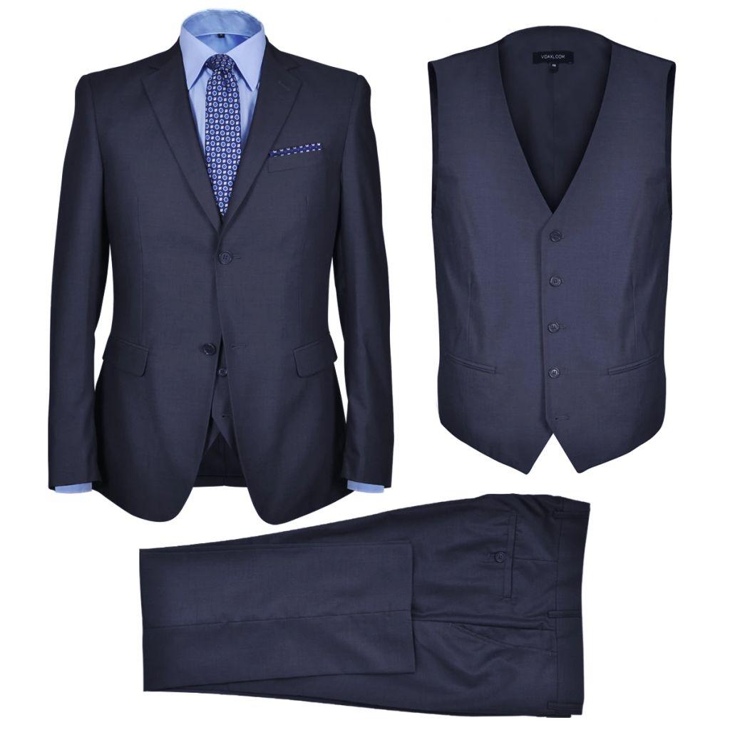 vidaXL Pánsky trojdielny formálny oblek, veľkosť 56, tmavomodrý