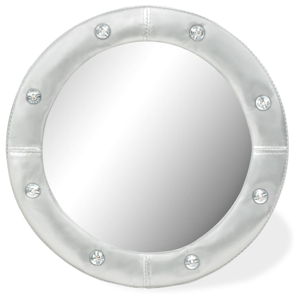 vidaXL Nástenné zrkadlo umelá koža 40 cm lesklé strieborné