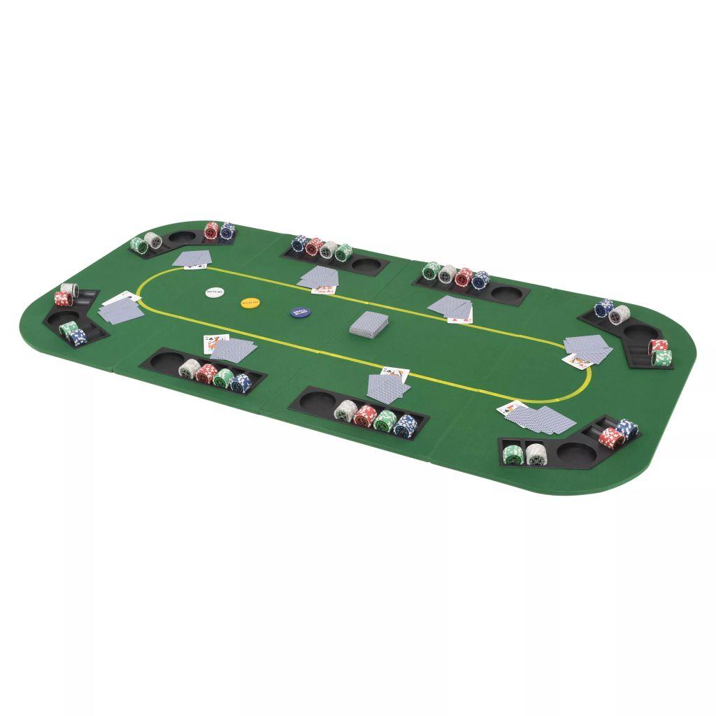 vidaXL 4-dielny sklápací pokrový stôl pre 8 hráčov, obdĺžnikový, zelený