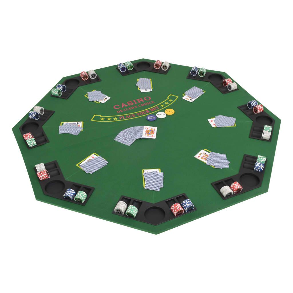 vidaXL Skladacia podložka na poker pre 8 hráčov, osemuholník, zelená
